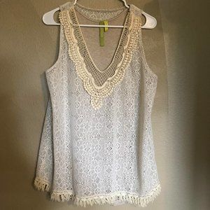 Cream Crotchet Tank Top